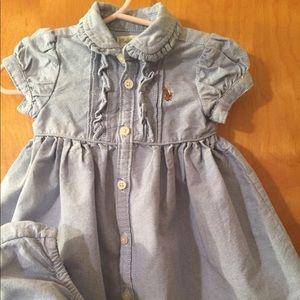 Ralph Lauren 6 mos blue cotton shirt sleeved dress
